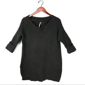 Free people sweater top knit cuffed sleeve tunic